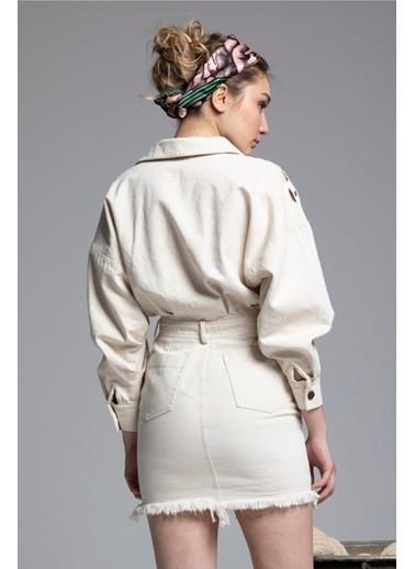 Tuba Ergin Organik Pamuk Denim Nakış Detaylı Margarita Elbise Krem